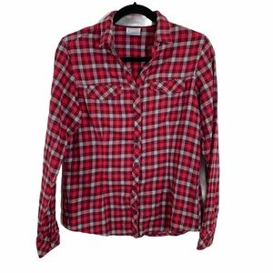 Columbia red pink checkered button down top